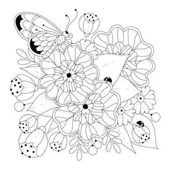 Раскраска квадратная страница с цветами и бабочкой