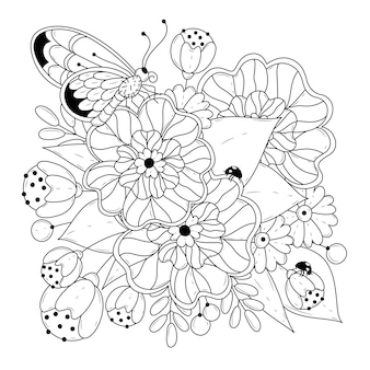 Coloring square page with flowers and butterfly