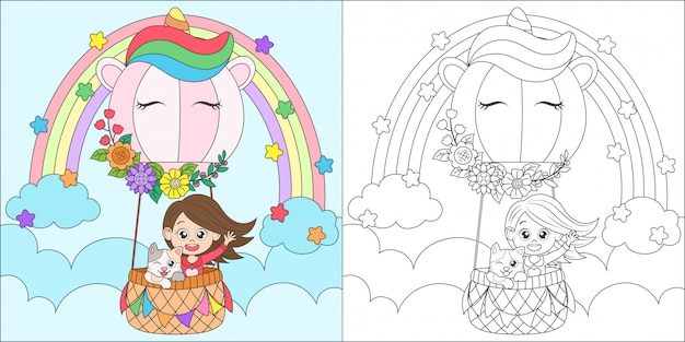 Coloring unicorn air balloon