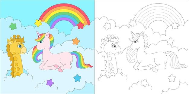 Coloring unicorn and giraffe