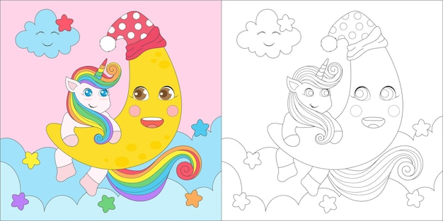 Coloring unicorn and moon