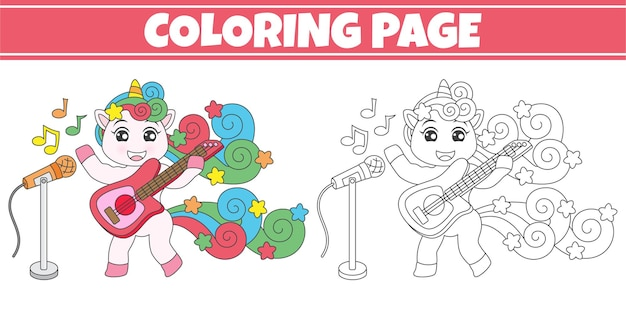 Coloring unicorn playing guitar