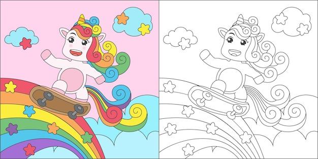 Coloring unicorn playing skateboard