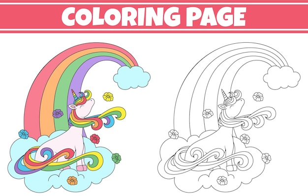 Coloring unicorn sitting on the cloud illustration