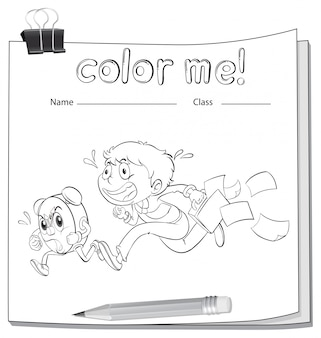 A coloring worksheet with a boy