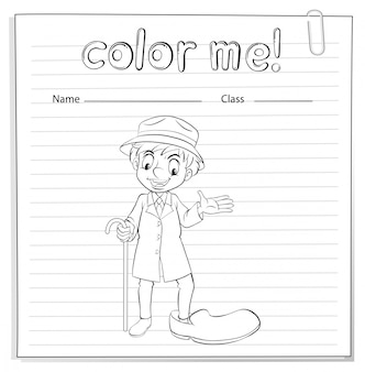 A coloring worksheet with a man