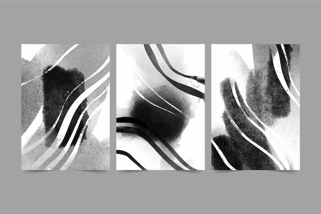 Colorless abstract watercolor cover collection