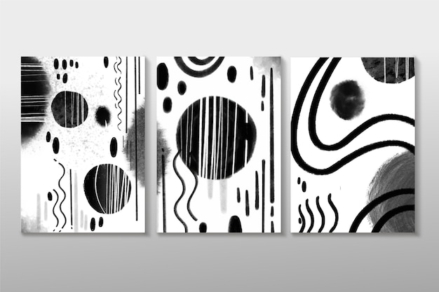 Colorless abstract watercolor cover pack