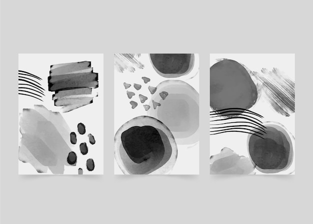 Colorless abstract watercolor cover set