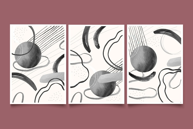 無色の抽象的な水彩画のカバーセット