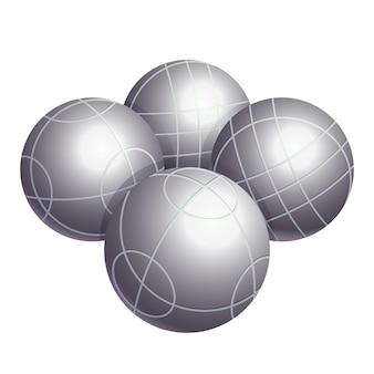 흰색 배경에 격리된 금속 또는 다양한 종류의 플라스틱 벡터 삽화로 만든 무색 보체 볼. bocci는 boules 가족에 속하는 구기 스포츠입니다.