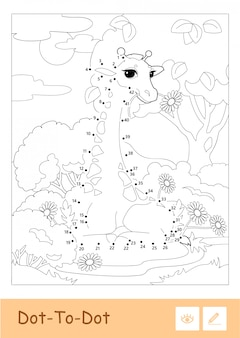 Colorless contour dot-to-dot illustration in a frame with a giraffe in a woodland. wild animals, mammals and herbivores preschool kids coloring book illustrations and developmental activity.