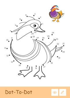 Colorless contour dot-to-dot illustration with a mandarin duck. wild birds preschool kids coloring book illustrations and developmental activity.