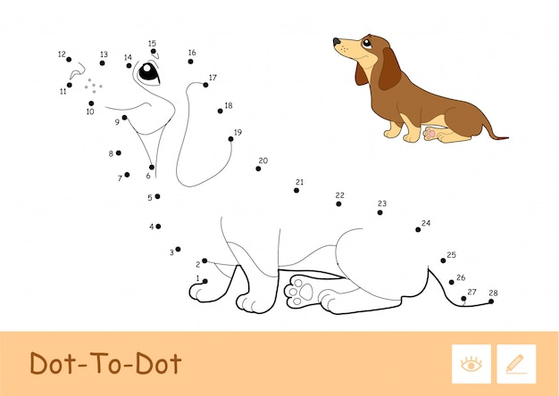 Colorless  contour dot-to-dot image and colorful example of a sitting dog isolated on white background. pets-related preschool kids coloring book illustrations and developmental activity.