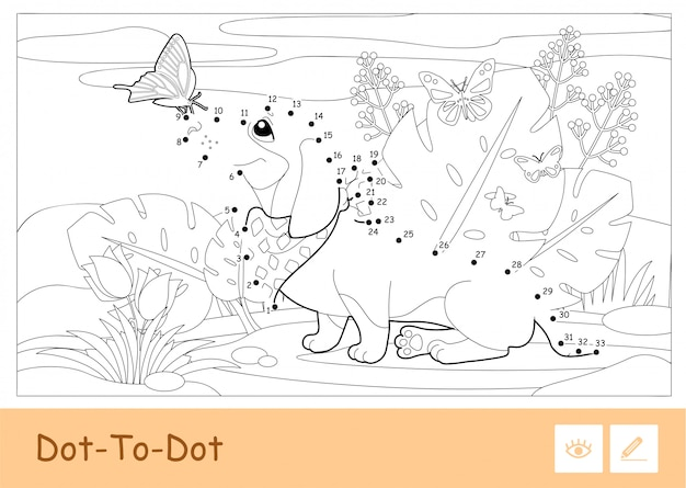 Colorless  contour dot-to-dot image of a dog playing with butterflies on a meadow isolated on white background. pets-related preschool kids coloring book illustrations and developmental activity