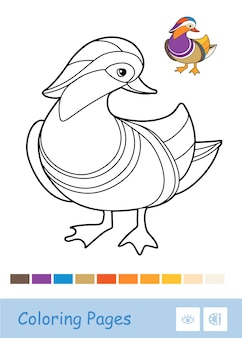 Colorless contour duck illustration isolated on white background. birds-related preschool kids coloring book illustrations and developmental activity.