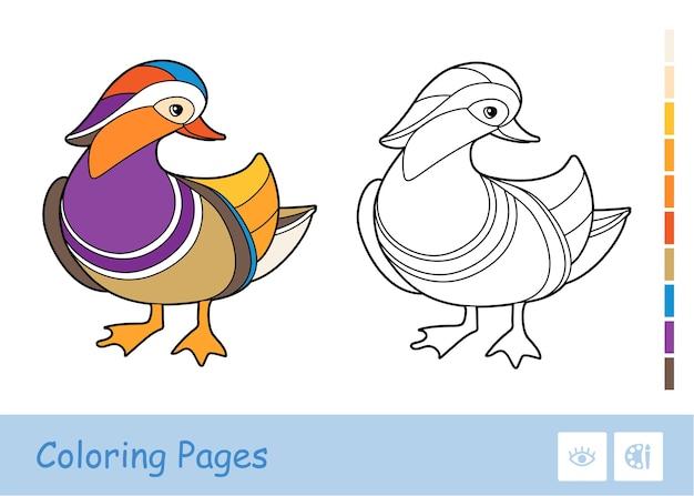 白い背景で隔離の無色の輪郭のアヒルのイラスト。本のイラストや発達活動を着色する鳥関連の就学前の子供たち。