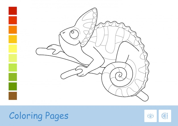 Colorless contour image of cute chameleon sitting on the tree branch isolated on white.