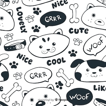 Colorless doodle animals and words pattern