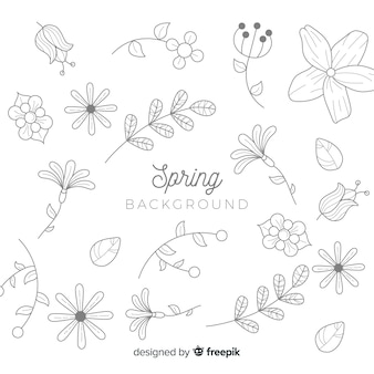 Colorless doodle spring background