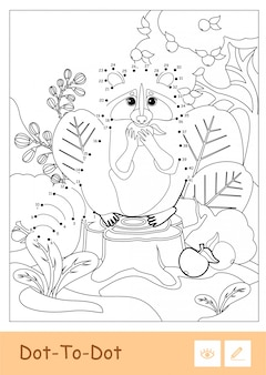 Colorless  dot-to-dot raccoon eating an apple in a wood isolated on white background. wild animals preschool kids coloring book illustrations and developmental activity.