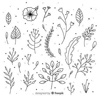 無色の花飾り要素セット