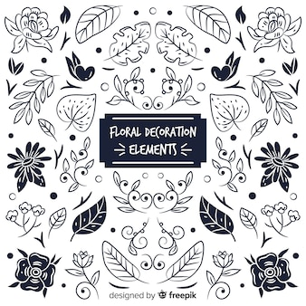 Colorless floral decoration element set
