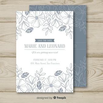 Colorless floral wedding invitation template