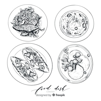 Colorless food dishes collection