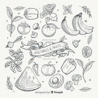 Бесцветная коллекция фруктов и овощей