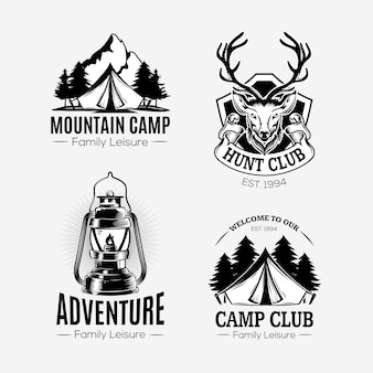 Colorless hand drawn adventure logo collection