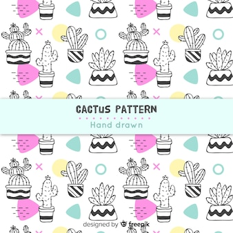 Colorless hand drawn cactus pattern