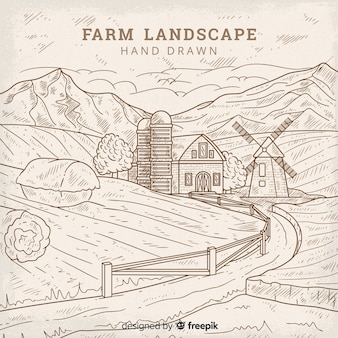 Colorless hand drawn farm landscape background