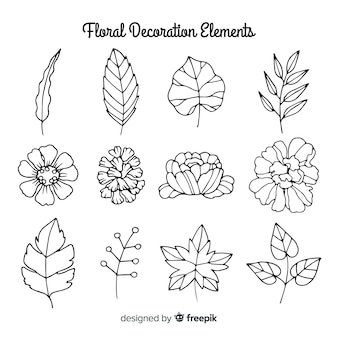 Colorless hand drawn floral decoration elements