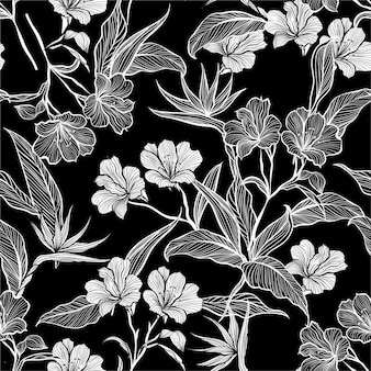 Colorless hand drawn flowers and leaves pattern