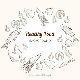 Colorless hand drawn food background