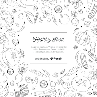 Colorless healthy food background template
