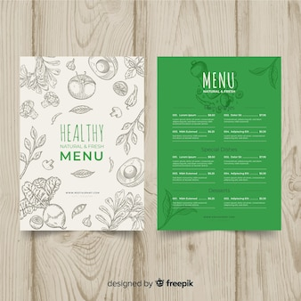 Colorless organic menu template