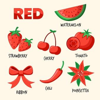 Набор цветов и словарный запас на английском языке