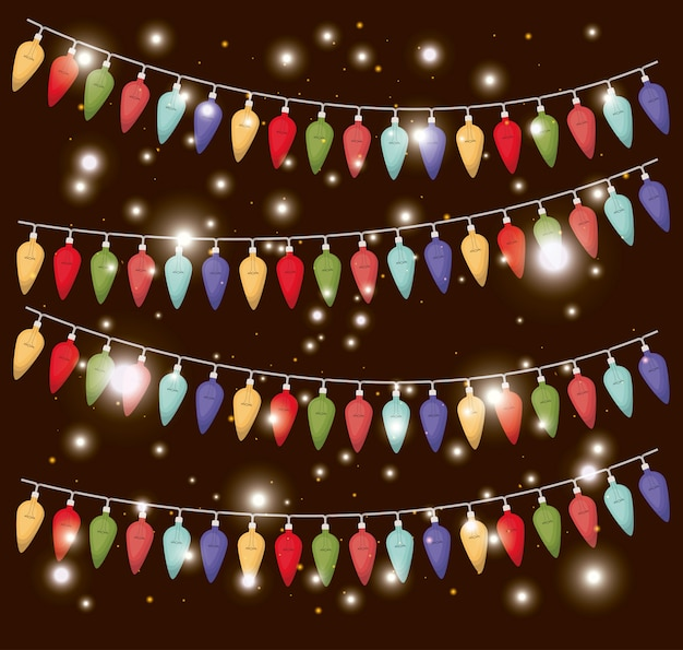 Colors christmas lights hanging decoration