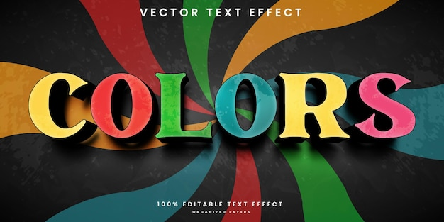 Colors editable text effect in vintage style