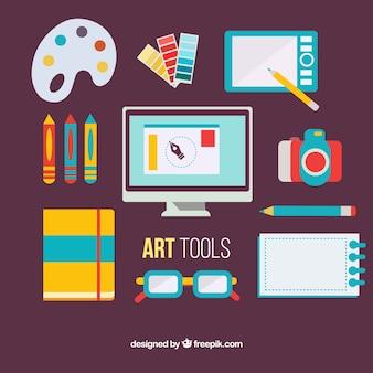 Colors flat art equipment