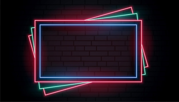 Colors neon frame in stacking style design