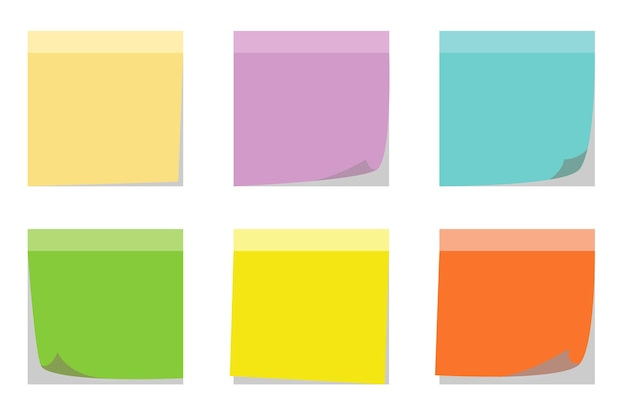 Colors set of sticky notes isolated