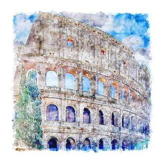 Колизей рома италия акварельный эскиз рисованной