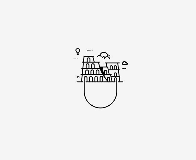 로마의 콜로세움 - 라인 아트 벡터 디자인 일러스트 레이 션.