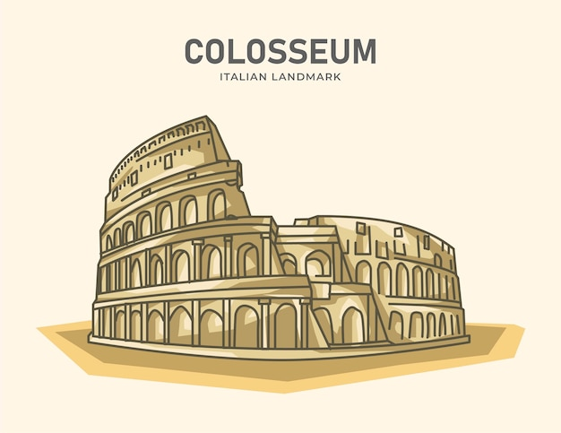 Colosseum italian landmark minimalist  illustration