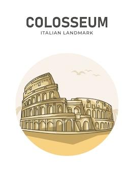 Плакат с итальянской достопримечательностью колизея