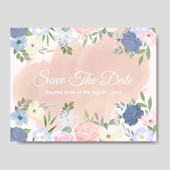 Colouful花と葉を持つエレガントな結婚式の招待カードテンプレート