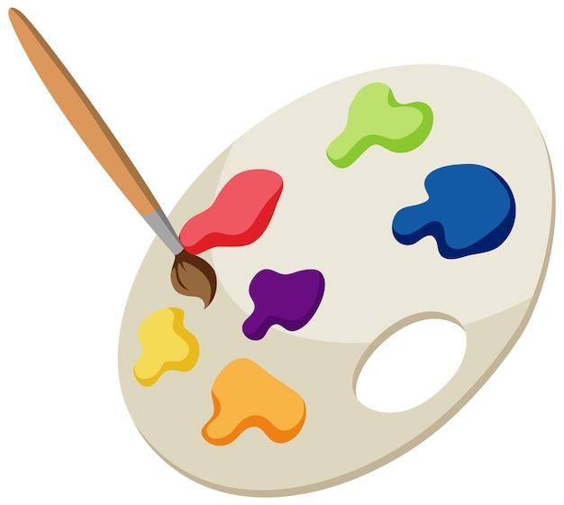 Piatto di pittura a colori con un pennello isolato